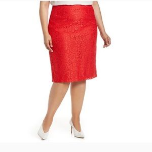 Halogen Red Lace Pencil Skirt Midi Valentines 18